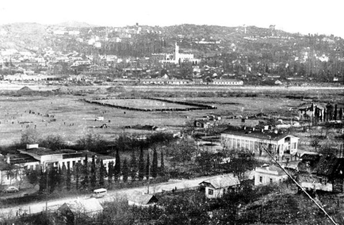 Футбольные поля на месте первого аэропорта Сочи. 1947 год